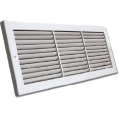 Click here to see Shoemaker 1100-28X6 28x6 Soft White Deluxe Baseboard Return Air Grille (Aluminum) - Shoemaker 1100
