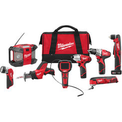 Click here to see Milwaukee 2495-28 Milwaukee 2495-28 M12 Cordless Lithium-Ion 8-Tool Combo Kit