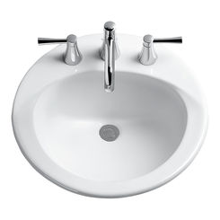 Click here to see Toto LT512G#01 Toto LT512G Cotton White Ultimate Self Rimming Lavatory Single Hole w/ SanaGloss