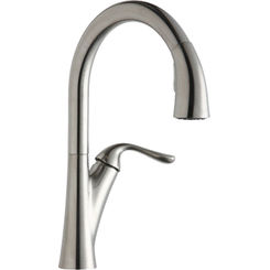 Click here to see Elkay LKHA4031LS Elkay Harmony Single Hole Kitchen Faucet with Pull-down Spray and Forward Only Lever Handle Lustrous Steel - LKHA4031LS
