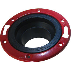 Click here to see Commodity  3 Inch ABS Spigot Closet Flange with Metal Ring, ABS Construction