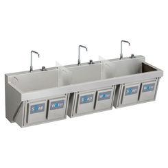 Click here to see Elkay EWSF39026KWSC ELKAY EWSF39026KWSC MANUAL TRIPLE STATION SCRUB SINK W/ KNEE ACTIVATED SOAP/WATER