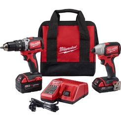 Click here to see Milwaukee 2799-22CX Milwaukee 2799-22CX M18 Compact Brushless Hammer Drill/Impact Combo Kit (2 Tool)