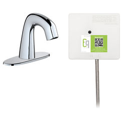 Click here to see Chicago Faucet EQ-A12A-53ABBN Chicago Faucets EQ-A12A-53ABBN EQ Brushed Nickel EQ Curved Series Lavatory Sink Faucet with Hands-free Infrared Detection