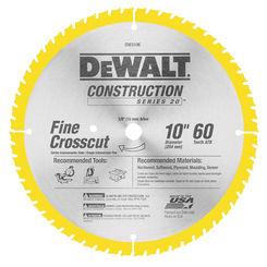 Click here to see Dewalt DW3106 Dewalt 20 Circular Saw Blade, 10in Dia x 0.071in T, 60 Teeth