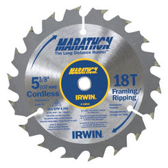 Click here to see Irwin 14015 Marathon 14015 Circular Saw Blade, 5-3/8 in Dia, 18 Teeth, 0.393 in Arbor