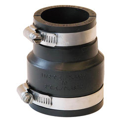 Click here to see Fernco P1056-215 Fernco 1056 Flexible Pipe Reducing Stock Coupling, 2 X 1-1/2 in x 3.392 in, Plastic, 4.3 psi, PVC