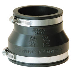 Click here to see Fernco P1056-43 Fernco 1056 Flexible Pipe Reducing Stock Coupling, 4 X 3 in x 4.03 in, Plastic/Cast Iron, 4.3 psi, PVC