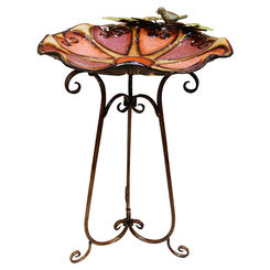Click here to see Alpine ORS198 Alpine ORS198 Heart and Bird Bird Bath With Black Metal Stand, 19 in L X 18 in W X 31 in H, Metal