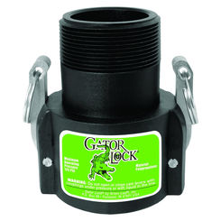 Click here to see Green Leaf GLP150BNL Gator Lock GLP150BNL Cam Lever Non-Locking Hose Coupling, 1-1/2 in, Female Coupler x MNPT, 125 psi, Polypropylene