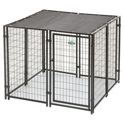 Click here to see SPS Fence RSHBK11-11799 spsfence RSHBK11-11799 Cottageview Dog Kennel With Sunblock Top, 5 ft L x 5 ft W x 4 ft H, Black, Powder-Coated