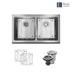 Click here to see Elkay R1-3002-16 Rene By Elkay R1-3002-16 Equal Double Bowl Stainless Steel Apron Kitchen Sink Kit - 16-Gauge
