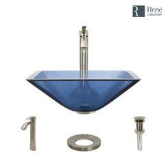 Click here to see Elkay R5-5003-CEL-R9-7006-BN Rene By Elkay R5-5003-CEL-R9-7006-BN Celeste Colored Glass Vessel Sink Kit