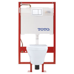 Click here to see Toto CWT437117MFG-4#01 TOTO MH Wall-Hung D-Shape Toilet and DuoFit in-wall 0.9 GPF and 1.28 GPF Dual-Flush Tank System with Copper Supply, Cotton White - CWT437117MFG-4#01
