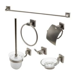 Click here to see Alfi AB9509-BN ALFI AB9509-BN 6-Piece Matching Bathroom Accessory Set, Brushed Nickel