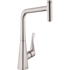 Click here to see Hansgrohe 14884801 Hansgrohe 14884801 Metris Select  High-Arc Kitchen Faucet, Steel Optik