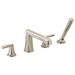 Click here to see Brizo T67498-NKLHP Brizo T67498-NKLHP Levoir Less Handles Roman Tub Faucet Trim with Spray, Luxe Nickel