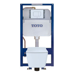 Click here to see Toto CWT449249CMFG#WH TOTO SP Wall-Hung Square-Shape Toilet and DuoFit In-Wall 1.28 and 0.9 GPF Dual-Flush Tank System with Copper Supply - CWT449249CMFG#WH