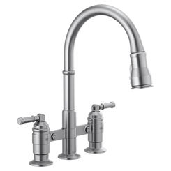 Click here to see Delta 2390L-AR-DST Delta 2390L-AR-DST Broderick Two Handle Pulldown Bridge Faucet, Arctic Stainless