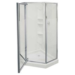 Click here to see Maax 101694-084 Maax Himalaya 101694-084 Shower Stall Kit, 38 in L X 38 in W X 74 in H, Polystyrene, Chrome
