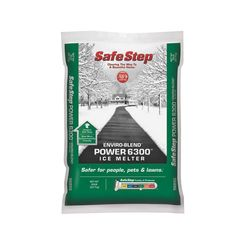Click here to see North American Salt 56850 Safe Step Enviro-Blend Power 6300 Ice Melter, 50 lb, Plastic Bag, -10 deg F,, White