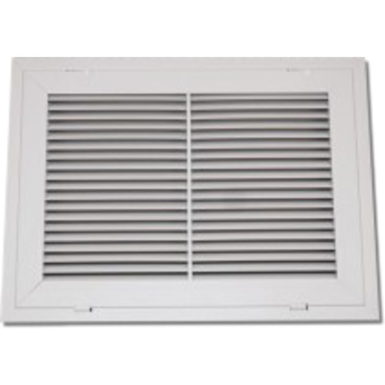 View 2 of Shoemaker 900FG-32X10 32x10 Soft White Fixed Airfoil Blade Filter Grille (Aluminum) - Shoemaker 900FG