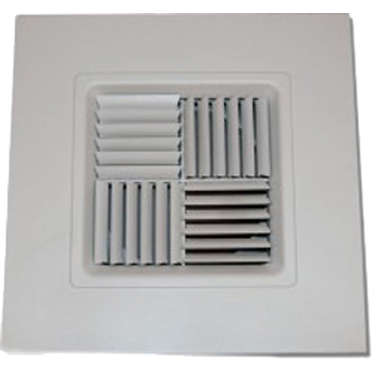 View 2 of Shoemaker 700MA0-10X10-9 10X10-9 Soft White Modular Core Diffuser in T-Bar Panel Opposed Blade Damper- Shoemaker 700MA-0