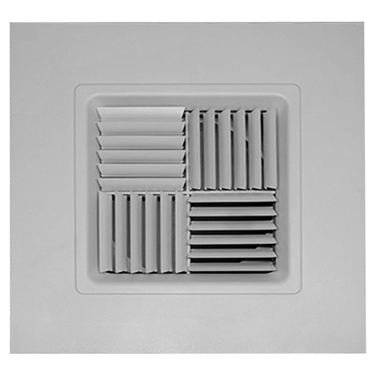 View 2 of Shoemaker 700MA0-14X14-7 14X14-7 Soft White Modular Core Diffuser in T-Bar Panel Opposed Blade Damper- Shoemaker 700MA-0