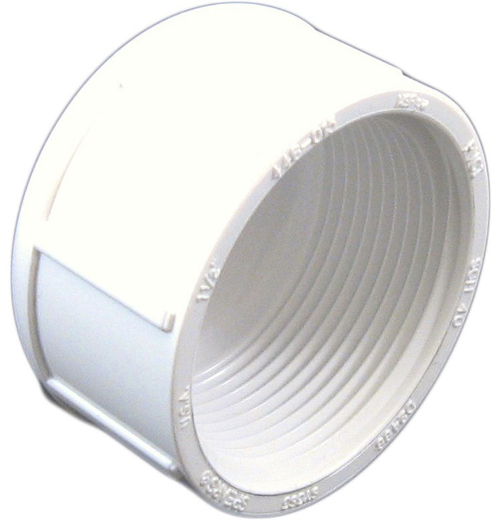 PVCCAP112T Schedule 40 PVC Threaded Cap 1 2 Inch