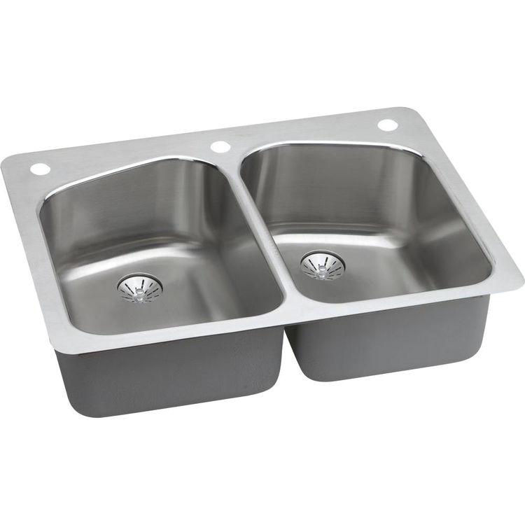 Elkay LKHSR33229PD3 Elkay LKHSR33229PD3 Lustertone Stainless Steel Double Bowl Sink Package