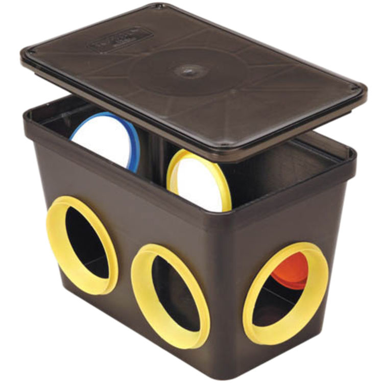 Tuf-Tite 6HD2 Plastic 6-Hole Distribution Box w/ Lid for Septic Systems