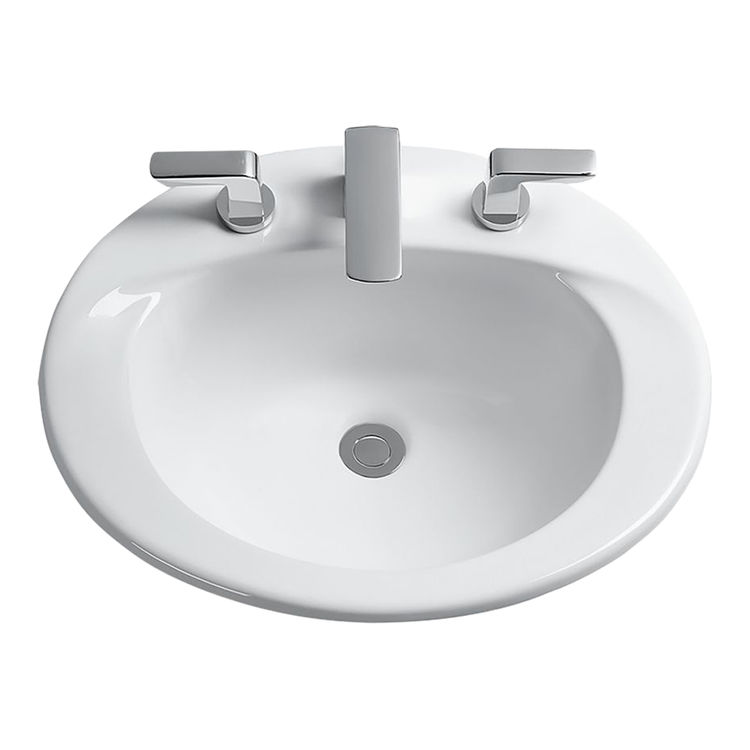 Toto LT511G#01 Toto LT511G Cotton White Supreme Self Rimming Lavatory Single Hole SanaGloss ADA