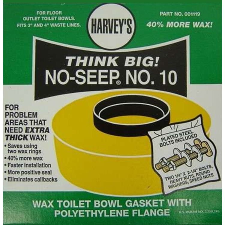Harvey 001109-N No-Seep #10 Toilet Gasket Wax Ring with Bolts