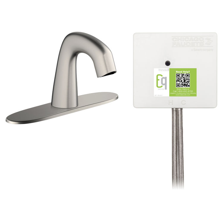 View 2 of Chicago Faucet EQ-A13A-12ABBN Chicago Faucets EQ-A13A-12ABBN EQ Brushed Nickel EQ Curved Series Lavatory Sink Faucet with Hands-free Infrared Detection