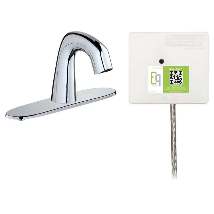View 2 of Chicago Faucet EQ-D13B-21ABCP Chicago Faucets EQ-D13B-21ABCP EQ Chrome EQ Curved Series Lavatory Sink Faucet with Hands-free Infrared Detection