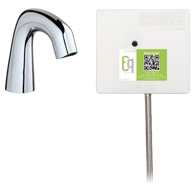 View 2 of Chicago Faucet EQ-D11A-41ABCP Chicago Faucets EQ-D11A-41ABCP EQ Chrome EQ Curved Series Lavatory Sink Faucet with Hands-free Infrared Detection
