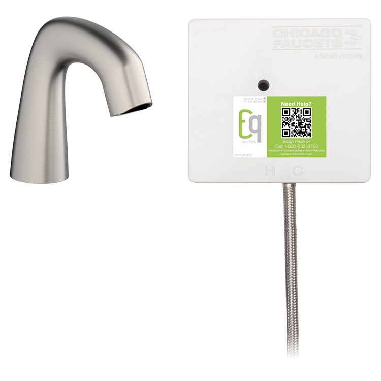View 2 of Chicago Faucet EQ-A11A-11ABBN Chicago Faucets EQ-A11A-11ABBN EQ Brushed Nickel EQ Curved Series Lavatory Sink Faucet with Hands-free Infrared Detection