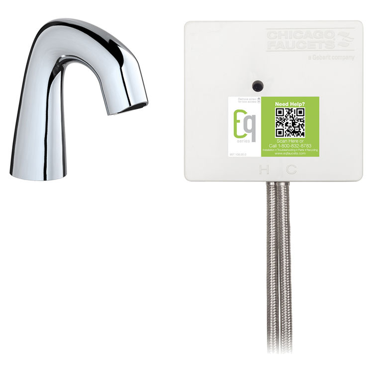 View 2 of Chicago Faucet EQ-A11B-23ABCP Chicago Faucets EQ-A11B-23ABCP EQ Chrome EQ Curved Series Lavatory Sink Faucet with Hands-free Infrared Detection