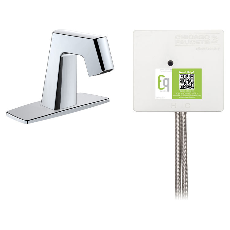 View 2 of Chicago Faucet EQ-B12A-53ABCP Chicago Faucets EQ-B12A-53ABCP EQ Chrome EQ Angular Series Lavatory Sink Faucet with Hands-free Infrared Detection