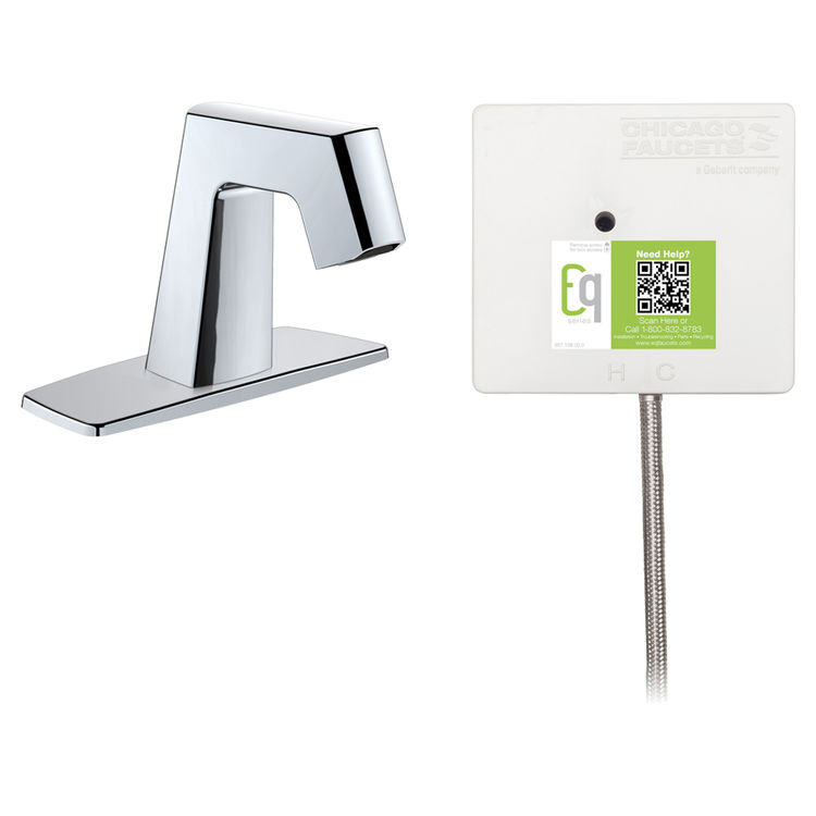 View 2 of Chicago Faucet EQ-B12A-51ABCP Chicago Faucets EQ-B12A-51ABCP EQ Chrome EQ Angular Series Lavatory Sink Faucet with Hands-free Infrared Detection