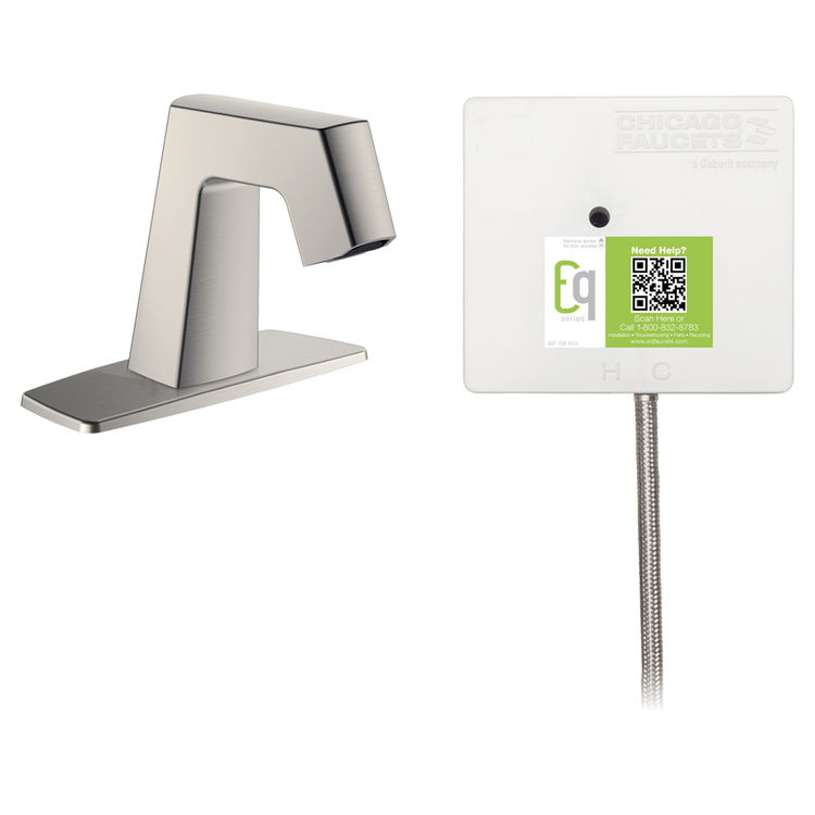 View 2 of Chicago Faucet EQ-B12A-41ABBN Chicago Faucets EQ-B12A-41ABBN EQ Brushed Nickel EQ Angular Series Lavatory Sink Faucet with Hands-free Infrared Detection