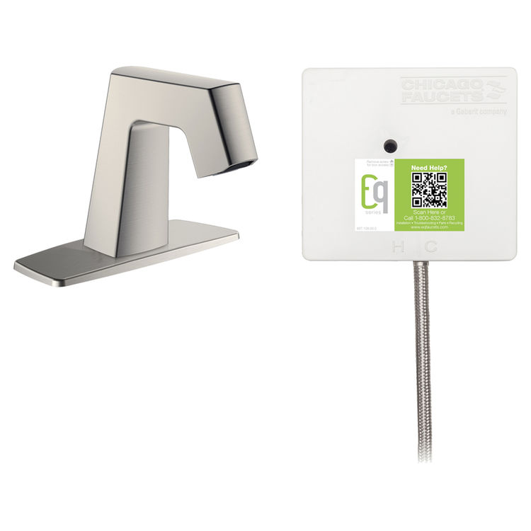 View 2 of Chicago Faucet EQ-B12B-21ABBN Chicago Faucets EQ-B12B-21ABBN EQ Brushed Nickel EQ Angular Series Lavatory Sink Faucet with Hands-free Infrared Detection