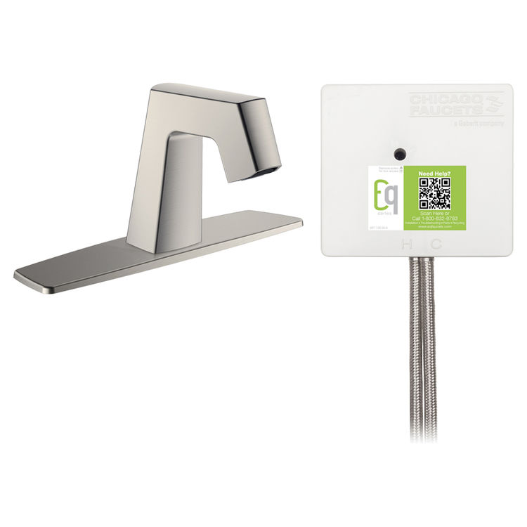 View 2 of Chicago Faucet EQ-B13A-33ABBN Chicago Faucets EQ-B13A-33ABBN EQ Brushed Nickel EQ Angular Series Lavatory Sink Faucet with Hands-free Infrared Detection