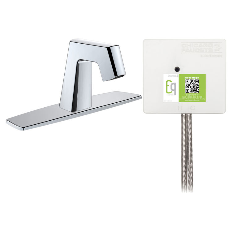 View 2 of Chicago Faucet EQ-B13A-12ABCP Chicago Faucets EQ-B13A-12ABCP EQ Chrome EQ Angular Series Lavatory Sink Faucet with Hands-free Infrared Detection
