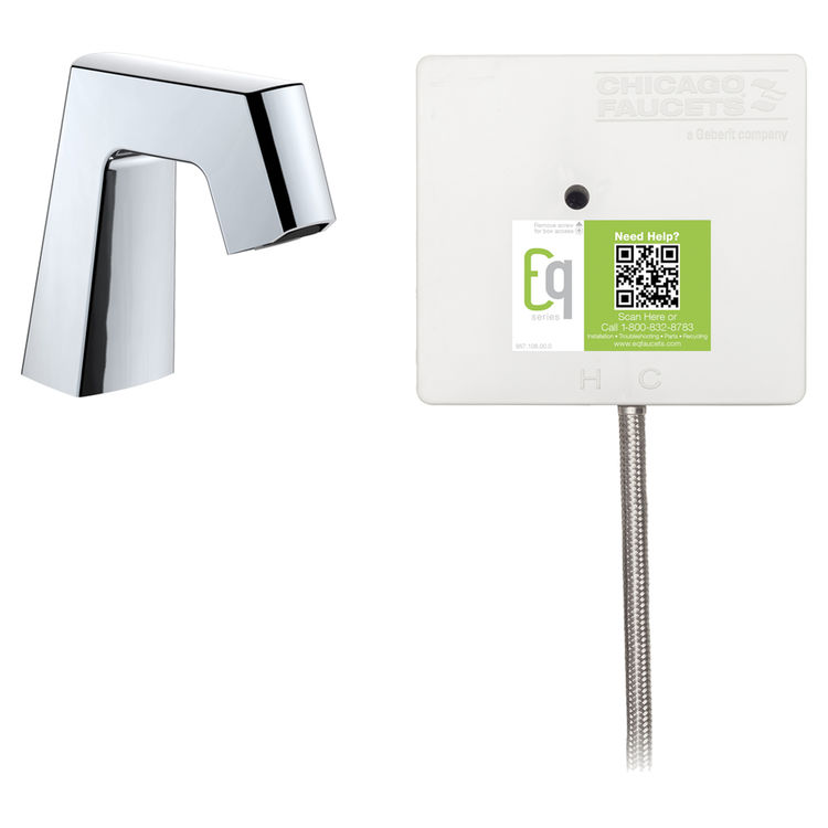View 2 of Chicago Faucet EQ-B11A-31ABCP Chicago Faucets EQ-B11A-31ABCP EQ Chrome EQ Angular Series Lavatory Sink Faucet with Hands-free Infrared Detection
