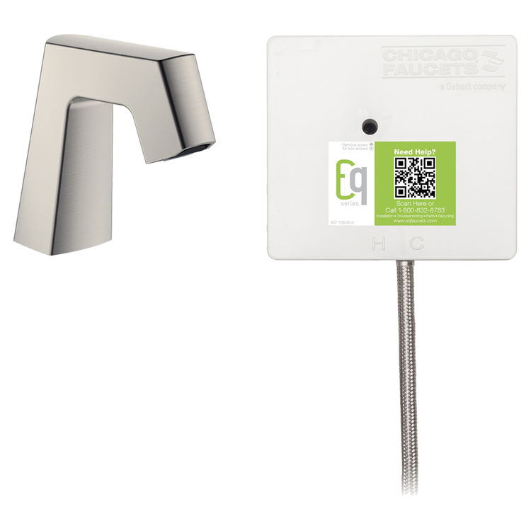 View 2 of Chicago Faucet EQ-B11A-11ABBN Chicago Faucets EQ-B11A-11ABBN EQ Brushed Nickel EQ Angular Series Lavatory Sink Faucet with Hands-free Infrared Detection