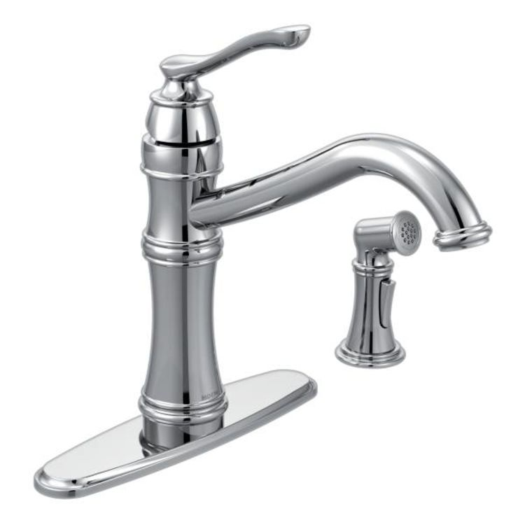 Moen 7245C Moen 7245C Belfield Chrome Single Handle Kitchen Faucet with Spray
