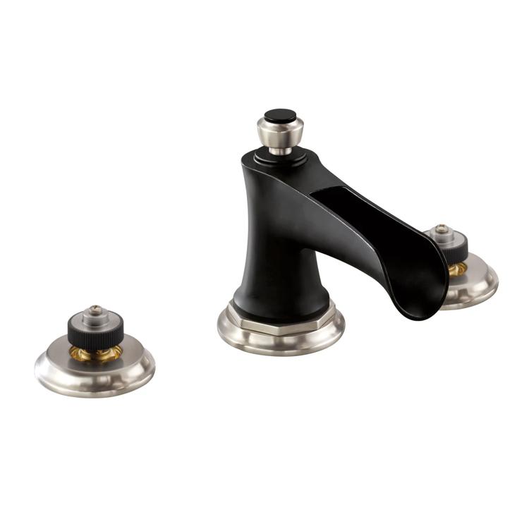 Brizo 65361LF-NKBLLHP Brizo 65361LF-NKBLLHP Luxe Nickel/Matte Black Rook Two Handle Widespread Lavatory Faucet