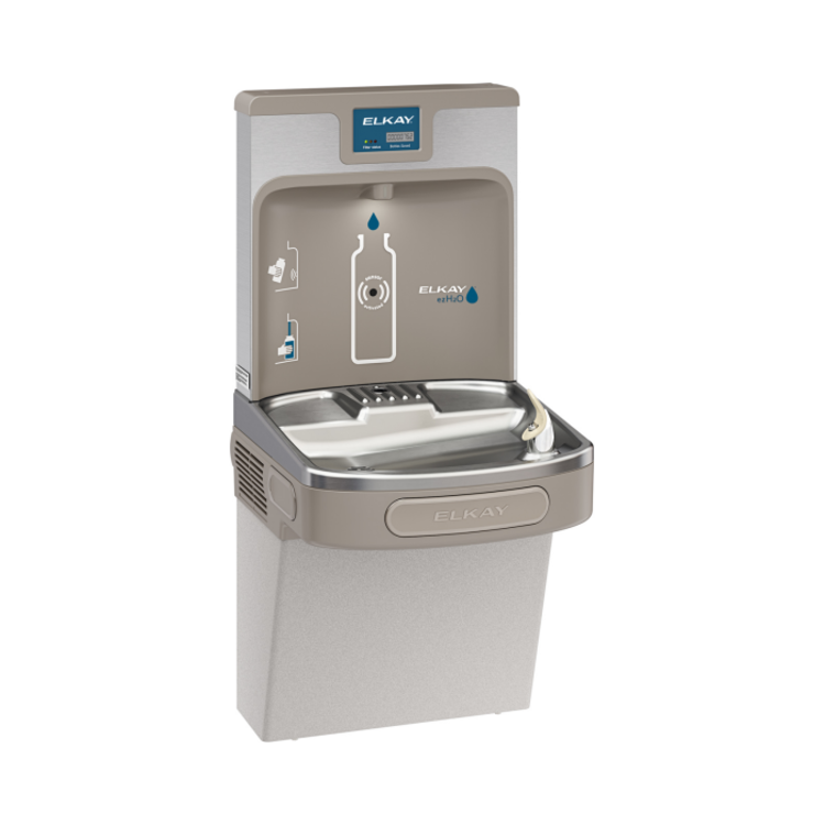 View 2 of Elkay LZS8WSLP Elkay LZS8WSLP Enhanced ezH2O Bottle Filling Station w/ Single Cooler - Filtered, 8 GPH, Wall Mount, ADA, Light Gray Granite