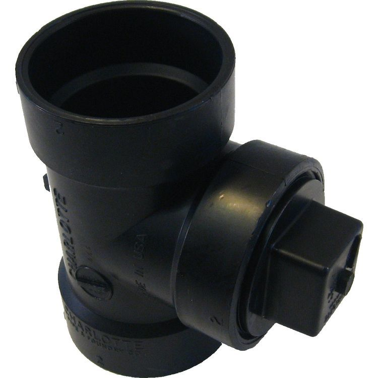 Commodity  2 Inch ABS Cleanout Tee with Plug, ABS Construction